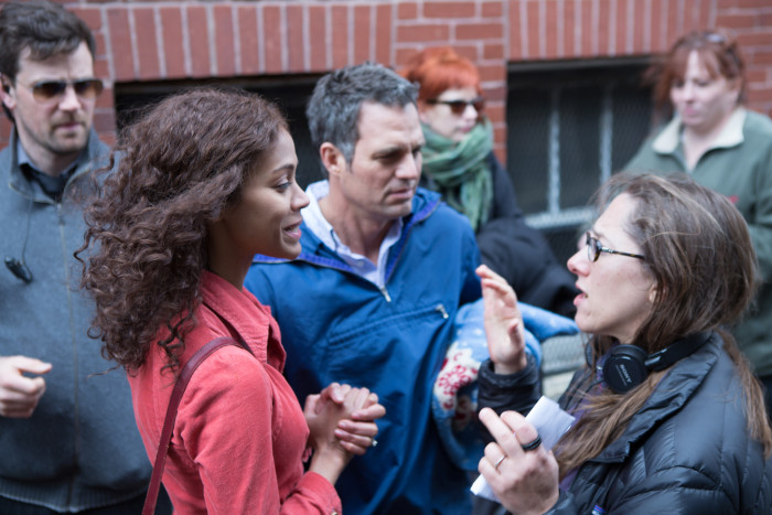 Maya Forbes on set with Zoe Saldana and Mark Ruffalo